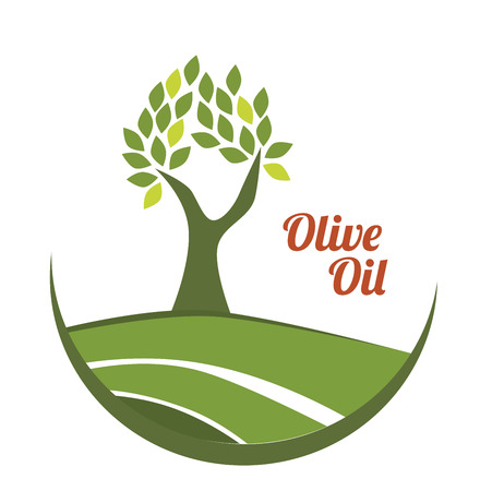tree in field: olive oil over white background vector illustration