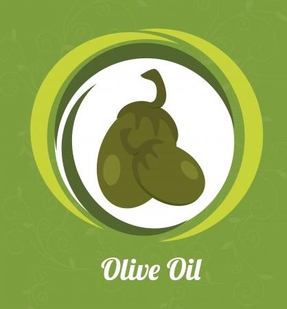 olive oil over green background vector illustration   Vector