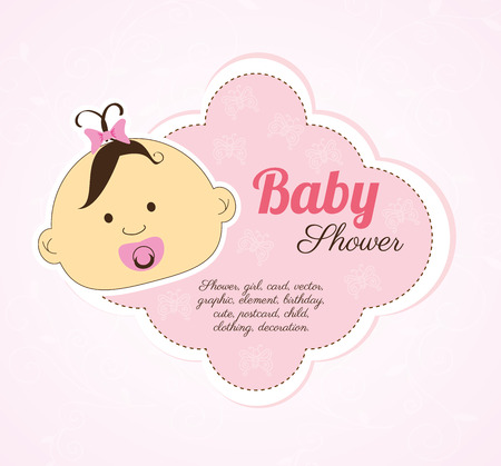 baby shower design over pink background vector illustration   Stock Vector - 23109992