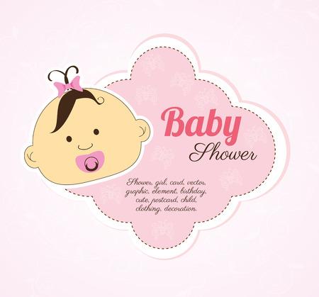 baby shower design over pink background vector illustration Stock Vector - 23109992