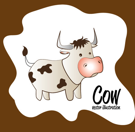 smyle: cow cartoon isolated over brown background. vector  Illustration