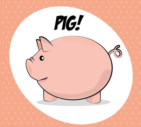smyle: pig  icon over dotted background vector illustration  Illustration