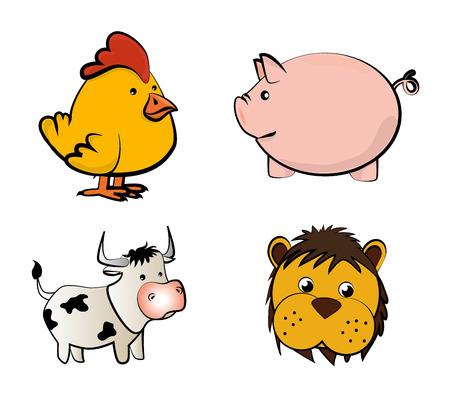 Farm Animals Icons over white background  vector illustration Vector