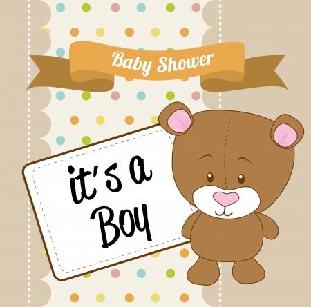 baby shower design over brown background vector illustration   Illustration