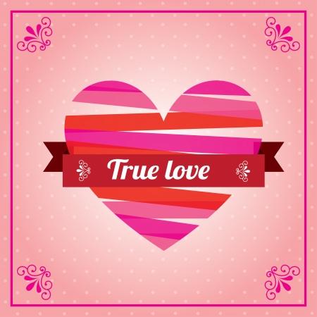 true love: love hearts over pink background vector illustration