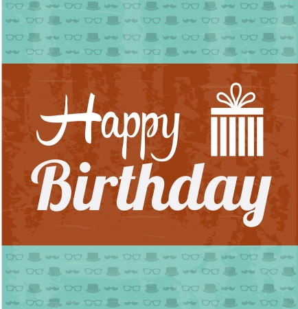 happy birthday label over pattern  background vector illustration   Vector