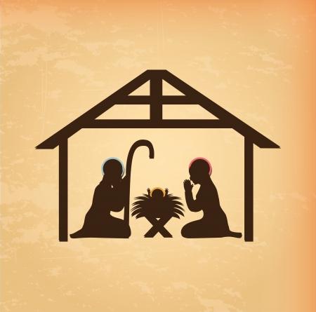 portal de belen: diseño de la Navidad sobre fondo crema ilustración vectorial