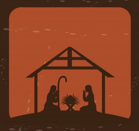 portal de belen: diseño de la Navidad sobre fondo de ladrillo ilustración vectorial Vectores