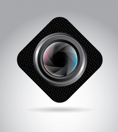 hypocenter: camera lens over gray background, vector illustration