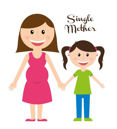 supplementation: single mother over white background vector illustration  Illustration