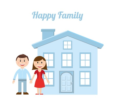 happy couple at home: family design over white background vector illustration