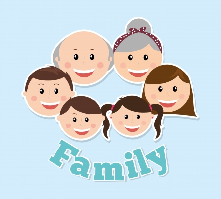 characters: family design over blue background vector illustration