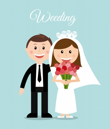 wedding design over blue background vector illustration Ilustração