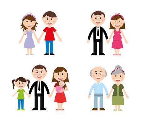 Famiglia di disegno su sfondo bianco illustrazione vettoriale Archivio Fotografico - 23234586
