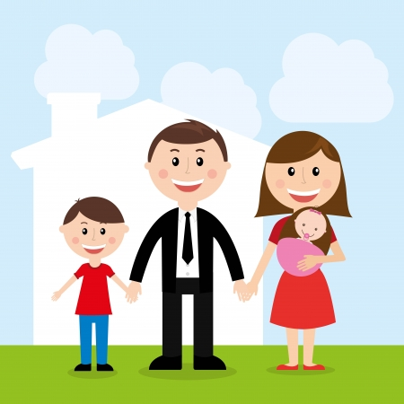 family design over sky background vector illustration Vector