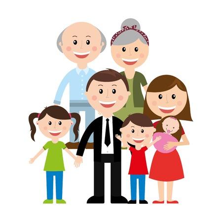 白い背景ベクトル イラストの家族のデザイン