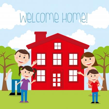 houses: welcome home  over landscape  background vector illustration