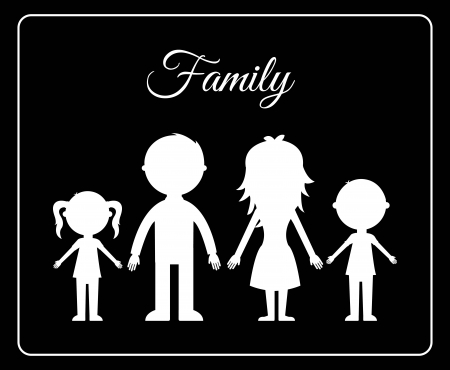 black family: family design over black  background vector illustration Illustration