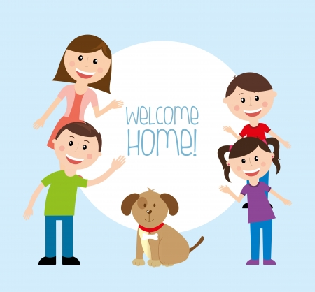 welcome home: welcome home  over blue  background vector illustration