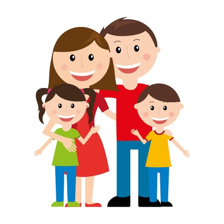 cute cartoon boy: family design over white  background vector illustration