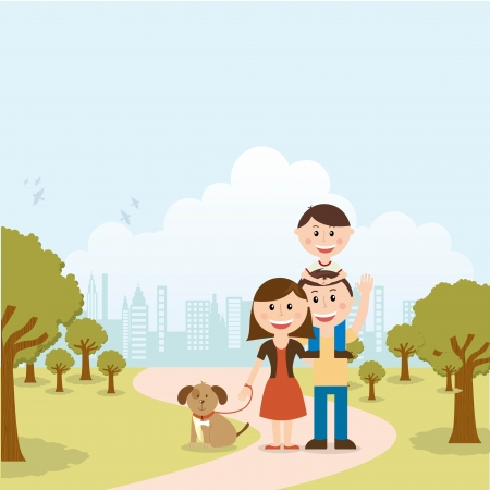 family design over landscape  background vector illustration Vector