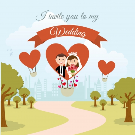 wedding design over landscape background vector illustration Vector