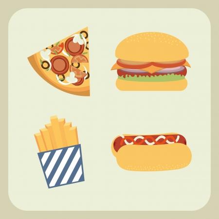 fast food design over beige background vector illustration Vector