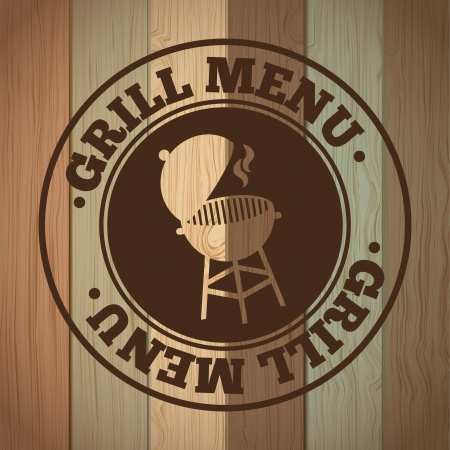 grill menu over wooden background vector illustration Vector