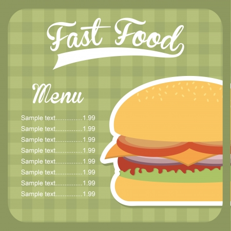 fast food design over green background vector illustration Vector