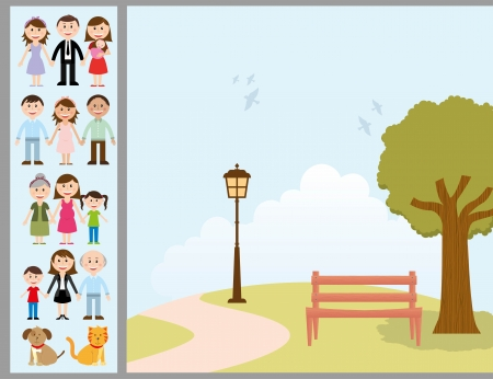 happy family nature: family design over landscape background vector illustration  Illustration