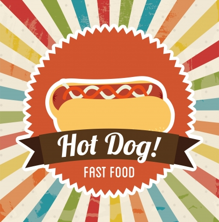 dog eating: hot dog design over grunge background vector illustration  Illustration