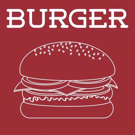 label burger over red background vector illustration Vector