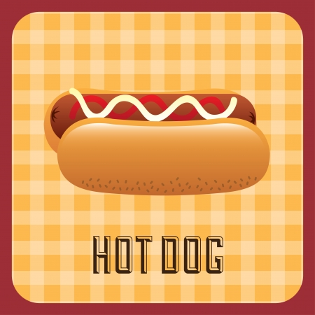 hot dog label over grid background vector illustration Vector