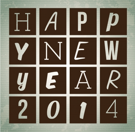 happy new year 2014 over gray  background  vector illustration   Vector
