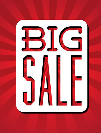 big sale design over red  background vector illustration Vector