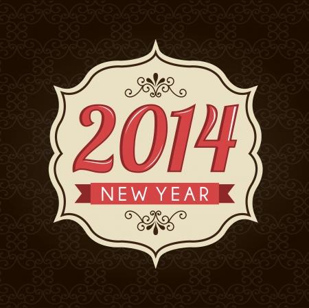 fondo cafe: feliz a�o nuevo 2014 en fondo marr�n ilustraci�n vectorial