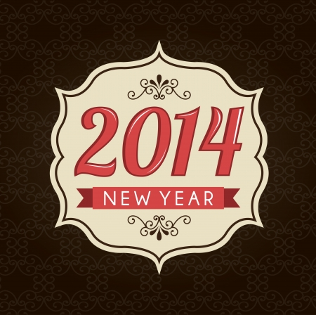 fond brun: heureuse nouvelle ann�e 2014 sur fond brun illustration vectorielle