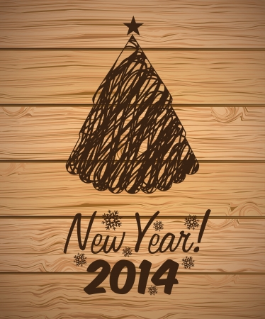 happy new year 2014 over wooden background  vector illustration  Vector