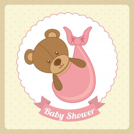 baby shower design over pink background vector illustration   Stock Vector - 23427639