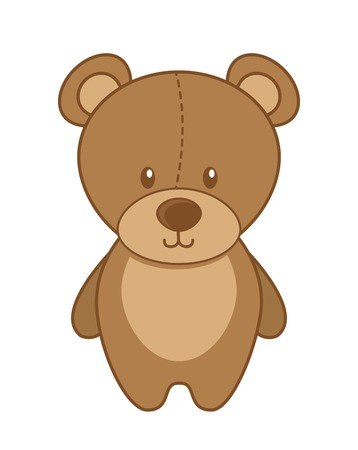 cute teddy bear: toy baby design over white background vector illustration