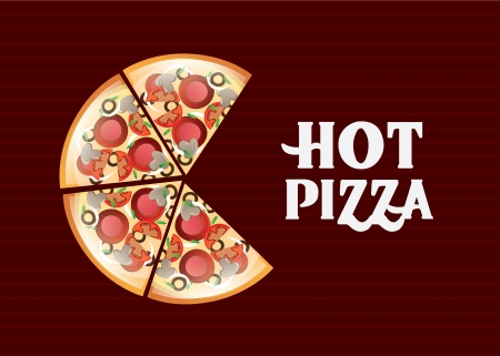 pizza design over lineal background vector illustration
