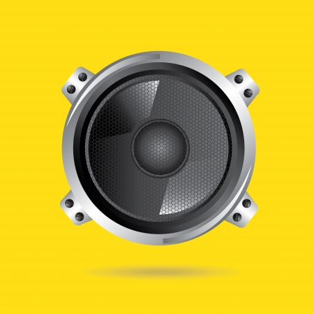 speakers design over yellow background vector illustration
