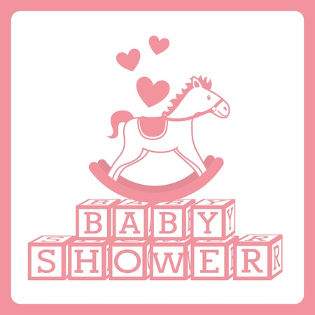 block: baby shower design over white background vector illustration