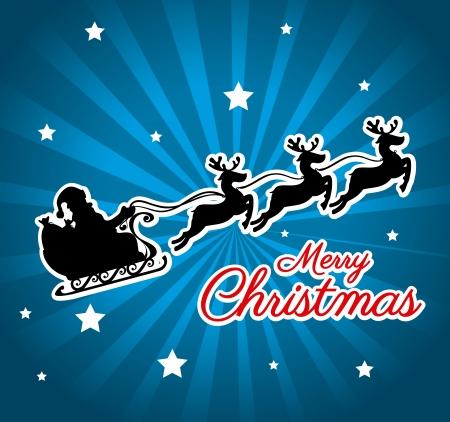 sledge: dise�o de la Navidad sobre fondo azul ilustraci�n vectorial Vectores