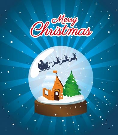 schneelandschaft: Weihnachts-Design �ber Nacht Himmel Hintergrund Vektor-Illustration