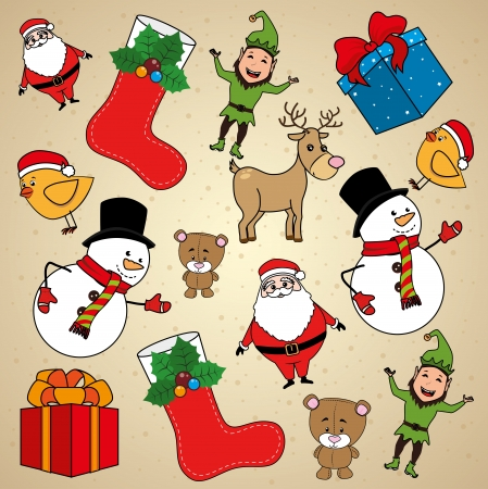 christmas design over beige background vector illustration Stock Vector - 23428248