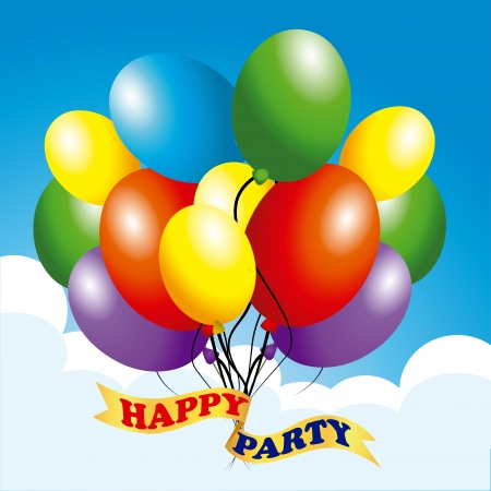 happy party design over sky background vector illustration   Vector