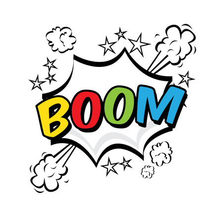 boom pop art explosion over white  background. vector illustration  Stock Vector - 23539526
