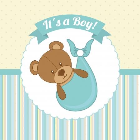 Diseño de la ducha del bebé sobre fondo punteado ilustración vectorial Foto de archivo - 23539535