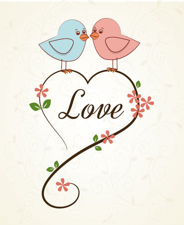 love birds over pink background vector illustration Vector